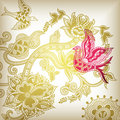 Floral Abstract and Bird 2 Royalty Free Stock Photo