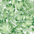 Floral abstract leaf tiled pattern. Tropical palm leaves seamles Royalty Free Stock Photo