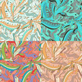 Floral Abstract oriental Seamless patterns set Royalty Free Stock Photo