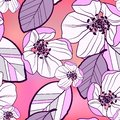 Floral abstract seamless pattern of large purple-white with black apple flowers and colorful leaves, on a bright gradient pink-