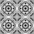 Azulejos Portuguese tile floor pattern, Lisbon seamless black and white tiles, vintage geometric ceramic design, Spanish ba Royalty Free Stock Photo