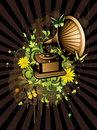Floral abstract wiyh gramophone Royalty Free Stock Photo