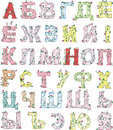 Floral alphabet cyrillic russian set of colorful vector illustrations Stock Image
