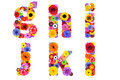 Floral alphabet isolated on white letters g h i j k l six made of many colorful and original flowers Royalty Free Stock Images
