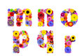 Floral alphabet isolated on white letters m n o p q r six made of many colorful and original flowers Royalty Free Stock Photography