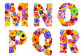 Floral alphabet isolated on white letters m n o p q r six made of many colorful and original flowers Stock Image