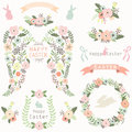 Floral Angel Wing Easter Elements Royalty Free Stock Photo