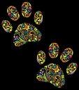 floral animal paw print on black background
