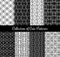 Floral arabic pattern set. Black and white modern arabesque vector seamless patterns Royalty Free Stock Photo