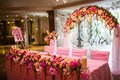 Floral arch on the wedding style restaurant Royalty Free Stock Image
