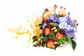 Floral arrangement of roses, lilies, irises Royalty Free Stock Photos