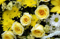 Floral arrangements in yellow tone. Royalty Free Stock Photo