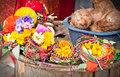 Floral arrangment for holi festival and religious offerings in nepal Stock Photos