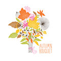 Floral autumn bouquet vector illustration Stock Photos