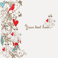Floral background backgorund with handdrawn flowers hearts and birds Royalty Free Stock Images