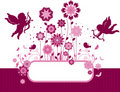 Floral background with birds and cupid. Royalty Free Stock Photo