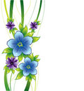 Floral background with blue flowers and dew-drop Royalty Free Stock Photo