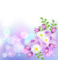 Floral background with boke and stars Royalty Free Stock Image