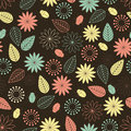 Floral background brown seamless with flowers and bugs Royalty Free Stock Image
