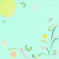 Floral background with butterfly and sun Stock Photos