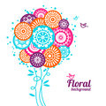 Floral background with cartoon birds Royalty Free Stock Photos