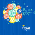 Floral background with cartoon birds Royalty Free Stock Images