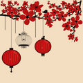 Floral background with chinese lanterns and birdca Stock Images