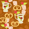 Floral background with cup and pastry Stock Images