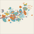 Floral background with cute birds in cartoon style Stock Image