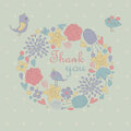 Floral background with cute birds in cartoon style thank you Royalty Free Stock Photos