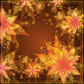 Floral background with decorative golden ornament Stock Image