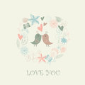 Floral background frame with cute birds in love Stock Photo