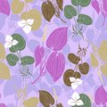 Floral background with leaves and florals. Seamless floral pattern. Summer vector illustration