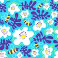 Floral background. Seamless pattern with bee and flower in doodle sketchy style. Cute vector illustration Royalty Free Stock Photo