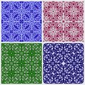 Floral background. Set of abstract seamless patterns. Royalty Free Stock Photo