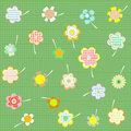 Floral background set of different flowers  Stock Photos