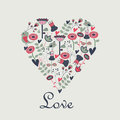 Floral background in shape of heart backgorund with cute flowers birds and hearts cartoon style valentine card Royalty Free Stock Photography