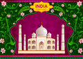 Floral background with Taj Mahal showing Incredible India