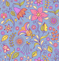 Floral background vector illustration of seamless pattern with abstract flowers Stock Photography