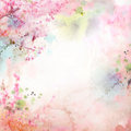 Floral background with watercolor sakura Royalty Free Stock Photo