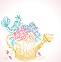 Floral background watering can bird illustration Stock Photo