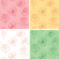Floral vector backgrounds with beautiful roses - set Royalty Free Stock Photo