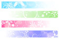 Floral banners abstract multicolored web over white Stock Images