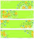 Floral banners doodle vector set Royalty Free Stock Photos