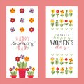 Floral banners for womens day, greeting card template, vector illustration