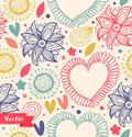 Floral beauty seamless pattern on the light background. Cute backdrop with hearts and flowers. Fabric decorative vintage texture.