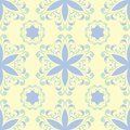 Floral beige seamless pattern. Beige background with light blue and green flower designs Royalty Free Stock Photo