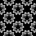 Floral black and white monochrome seamless pattern. Background with fower elements for wallpapers