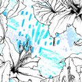 Floral Black and White Pattern. Blue Artistic Royalty Free Stock Photo