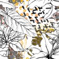 Floral Black and White Trends Artistic Watercolor. Royalty Free Stock Photo
